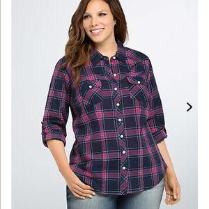 Plaid Torrid shirt size 1